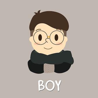 Okulary cute asian korean japan china boy with winter scarf