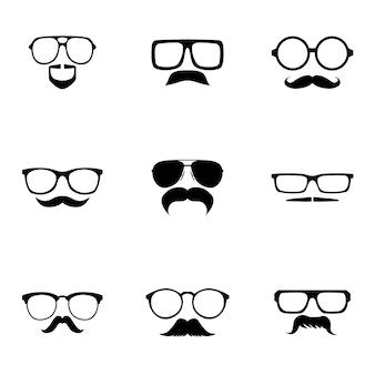 Okulary i wąsy wektor zestaw. proste okulary i ilustracja w kształcie wąsów, elementy edytowalne, mogą być używane w projektowaniu logo