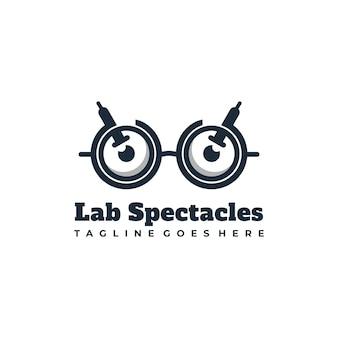 Okulary laboratorium maskotka projektowanie logo ilustracji wektorowych
