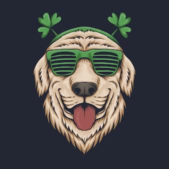 Okulary na głowę psa na dzień świętego patryka