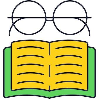 Okulary nad ikoną otwartej książki płaskie wektor