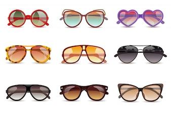 Okulary przeciwsłoneczne lato słońce realistyczne zestaw ikon