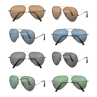 Okulary przeciwsłoneczne aviator zestaw na białym tle. ciemnobrązowe soczewki odblaskowe z bardzo cienkimi metalowymi oprawkami z podwójnym mostkiem i bagnetowymi zausznikami lub elastycznymi zausznikami kablowymi, które zaczepiają się za uszami