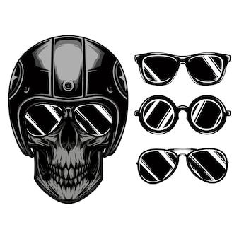 Okulary przeciwsłoneczne dla jeźdźców czaszki