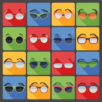Okulary przeciwsłoneczne okulary moda zestaw ikon płaski