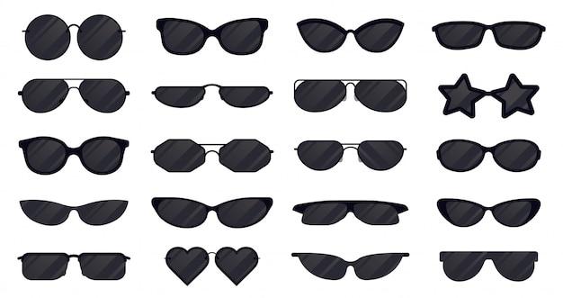 Okulary przeciwsłoneczne. sylwetka okularów, eleganckie okulary przeciwsłoneczne, czarne plastikowe okulary. zestaw ikon ilustracji okularów przeciwsłonecznych. ochrona przedmiotów przed słońcem, kolekcja soczewek okularowych