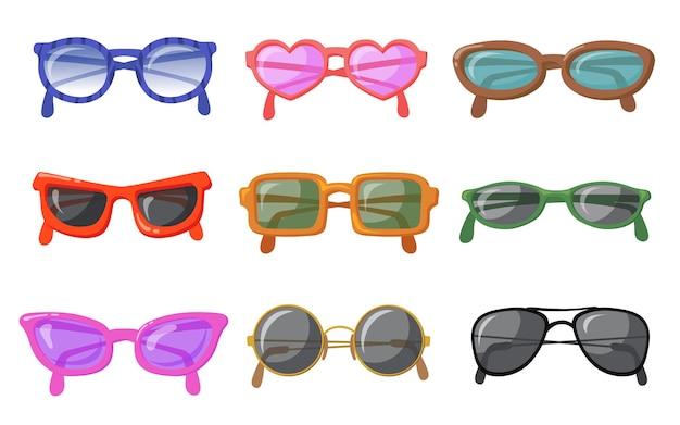 Okulary przeciwsłoneczne w kolorowym komplecie z oprawkami