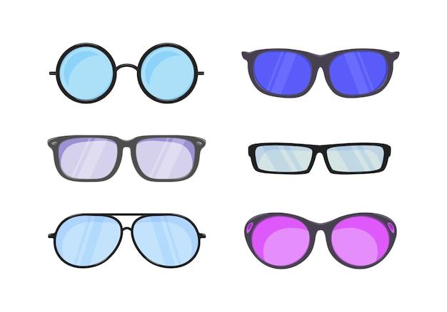 Okulary przeciwsłoneczne w płaskim stylu. akcesoria do modnych okularów optycznych widok wzroku.