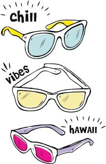 Okulary przeciwsłoneczne w stylu doodle na białym tle