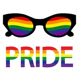 Okulary przeciwsłoneczne z flagą transseksualistów lgbt. gejowska duma. społeczność lgbt. równość i autoafirmacja. naklejka, naszywka, nadruk na koszulce, projekt logo. ilustracja wektorowa na białym tle