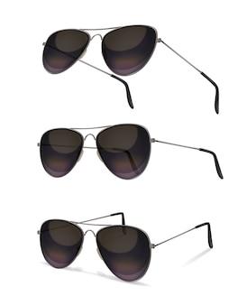 Okulary przeciwsłoneczne z realistycznymi obrazami okularów aviator pod różnymi kątami z cieniami na pustym tle