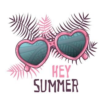 Okulary szkic wektor w stylu vintage. napis: hej lato.