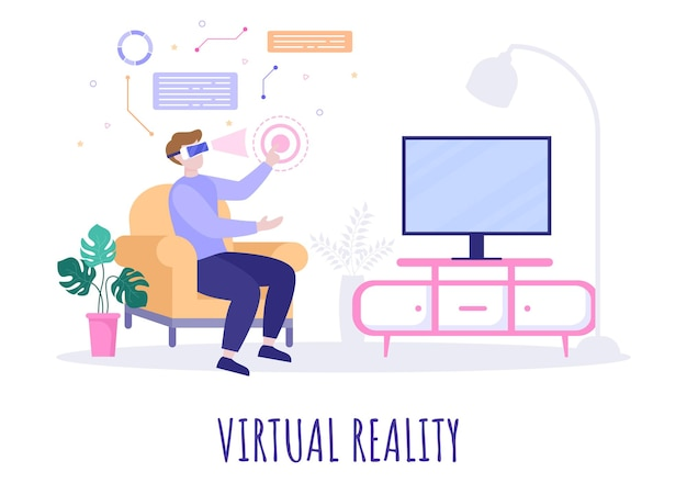Okulary vr wirtualna rzeczywistość ilustracja wektorowa