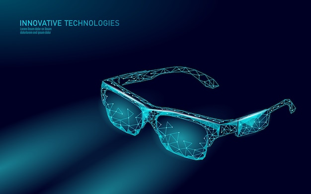 Okulary wirtualnej rzeczywistości rozszerzonej. koncepcja wielokąta rozrywki mediów innowacji. ilustracja kino połączenia internetowego technologii.