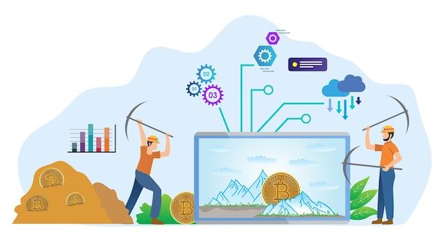 Okulary wirtualnej rzeczywistości wydobycie bitcoinów nowoczesna koncepcja cyfrowego krypto wydobywanie monety przez człowieka