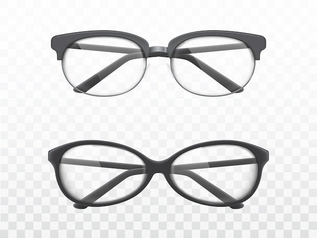 Okulary z czarnymi ramkami realistyczne wektory