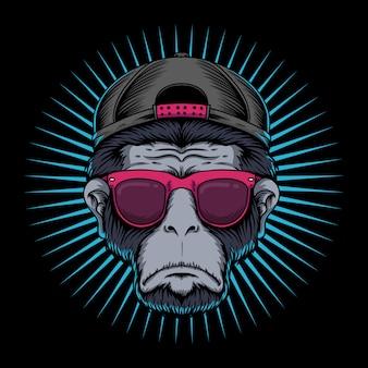 Okulary z głową małpy