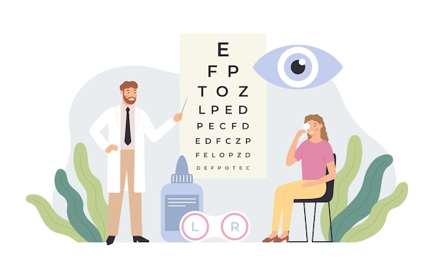 Okulista sprawdzający wzrok. test opieki zdrowotnej oczu, diagnostyka okulistyki i profesjonalnych okulistów w ilustracji wektorowych białych fartuchów. okulista wykonujący badanie wzroku