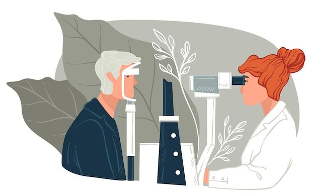 Okulista sprawdzający znak postaci, badający wzrok charakteru przy pomocy specjalnego sprzętu. optometria i opieka zdrowotna w klinikach lub szpitalu. opieka okulisty. wektor w stylu płaskiej