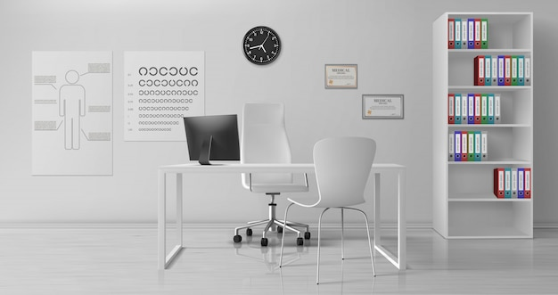 Okulisty biurowy wewnętrzny realistyczny wektor
