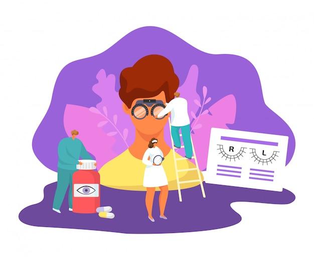 Okulistyka ilustracja medycyna zestaw, kreskówka drobni pacjenci ludzie odwiedzają postać lekarza okulisty, sprawdź zdrowie oczu