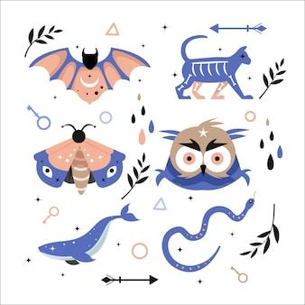 Okultystyczne ezoteryczne zwierzęta i żywioły