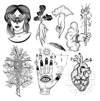 Okultyzm z kobietą o oczach ćmy, korzeń mandragory, węże na drzewie, symbole alchemiczne na dłoni, ręka boga z chmurami, zamek w kształcie serca. ilustracja.