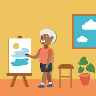 Old afro woman paintobraz aktywny senior postać