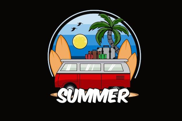 Old school mini van z projektem ilustracji deski surfingowej
