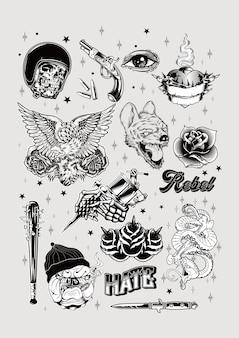 Old school tattoo design set vintage poster print