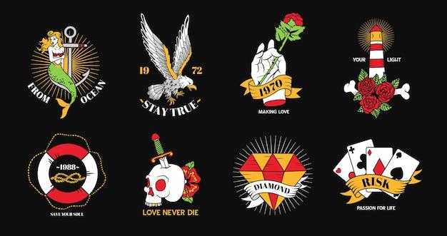 Old school tatuaż elementy płaskie kolorowy zestaw z symbolami ryzyka miłości na białym tle
