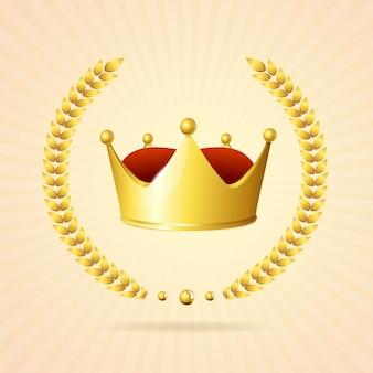 Oldstyle złota korona królewska samodzielnie na białym tle