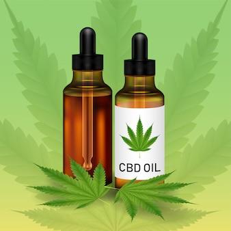 Olej kanabidiolowy lub cbd z liściem marihuany