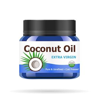 Olej kokosowy w realistycznym niebieskim słoiku.