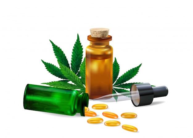 Olej konopi i liść marihuany na białym tle. zdrowy olej z konopi