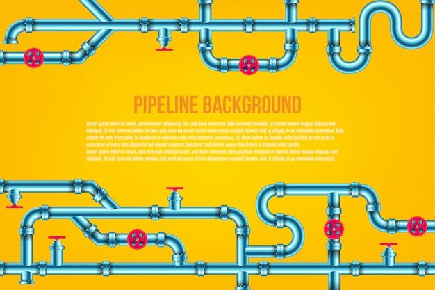 Olej przemysłowy, woda, tło systemu rur gazowych.