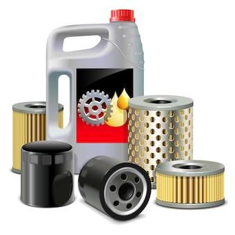 Olej silnikowy i filtry na białym tle