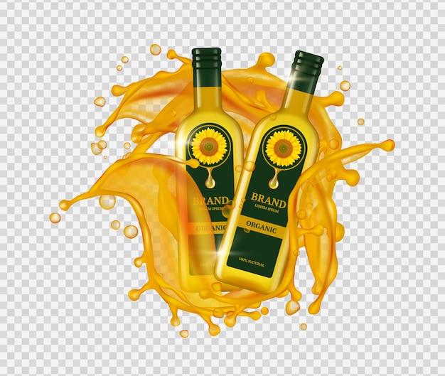 Olej słonecznikowy. realistyczne butelki oleju złote krople i plamy.