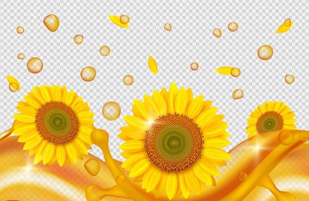Olej słonecznikowy realistyczny. złote krople, fale oleju, słoneczniki