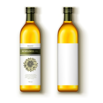 Olej słonecznikowy, szablon pakietu z etykietą na białym tle, ilustracja widok z góry