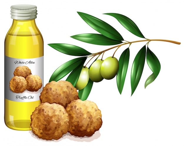 Olej truflowy w butelce i świeże warzywa