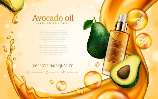 Olej z awokado zawarty w buteleczce kosmetycznej, z elementami awokado i złotego olejku
