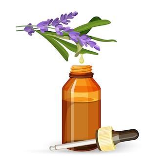 Olej z ekstraktu z lawendy w szklanej butelce z pipetą.