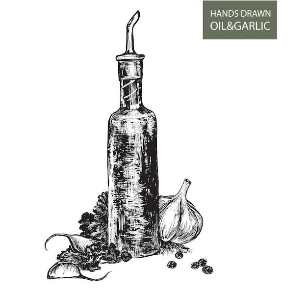 Olej z rysunkiem czosnku