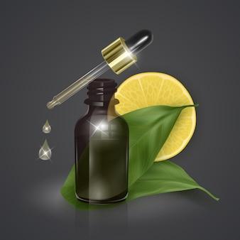 Olejek eteryczny z cytryną, witaminą c, realistyczna ilustracja 3d. serum nawilżające z ekstraktem z cytryny.