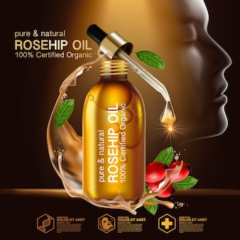 Olejek z dzikiej róży organics naturalny kosmetyk do pielęgnacji skóry