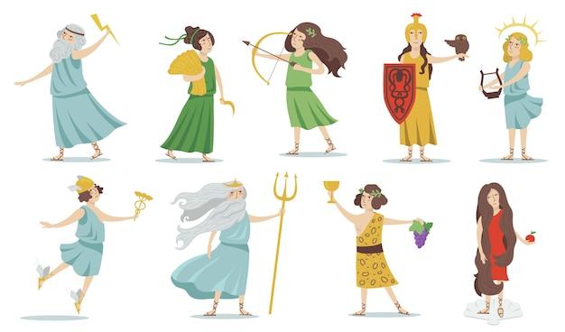 Olimpijscy bogowie i boginie. posejdon, wenus, hermes, atena, kupidyn, zeus, apollo, dionizos. dla mitologii greckiej, kultury starożytnej grecji. zestaw ilustracji wektorowych na białym tle.