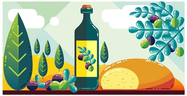 Oliwa z oliwek na krajobrazie intalian
