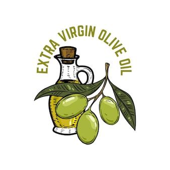 Oliwa z oliwek z pierwszego tłoczenia. gałązka oliwna. element godła, znak, znaczek, etykieta. ilustracja