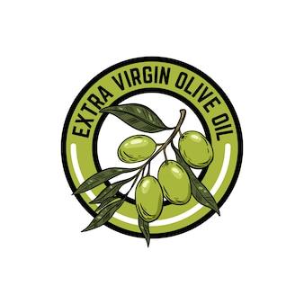 Oliwa z oliwek z pierwszego tłoczenia. godło z gałązką oliwną. element logo, etykieta, godło, znak. ilustracja